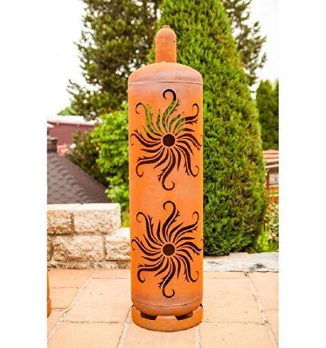 Ferrum Art Design Feuertonne Gasflasche Sonne Feuersäule Feuerkorb Feuerstelle Edelrost Höhe: 125cm Ø: 30cm