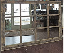 Extra Large Farmhouse Window Pane Mirror, Huge Rustic Country Wall Mirror 46 inch X 36 inch with Custom Color Options Decorative Distressed Living Room Decor