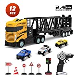 DEERC Remote Control Transport Car Carrier Truck Toys 15KM/H 2.4Ghz, Mini Cars Play Vehicles Set, 3 in 1 Die-cast Construction Truck for Kids, with 1 Traffic Light 5 Road Signs Gift for Boys Toddlers
