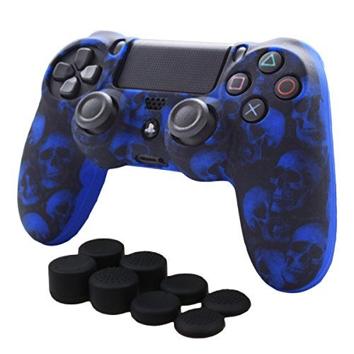 Skin Compatible for PS4 Controller Pandaren Anti-Slip Silicone Cover Skin Set for PS4 /Slim/PRO Controller(Blue Skull Controller Skin x 1 + FPS PRO Thumb Grips x 8)