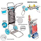 Monty- LOLAhome Carro portasillas Plegable Azul de Aluminio para Camping y Playa Nuevo y Mejorado, Color (Juinsa 12214)