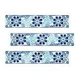 Kantu 2112009 Anabel Ceramic Decorative Listello Wall Tile, 3-inch, Metallic Blue, 3 Pack