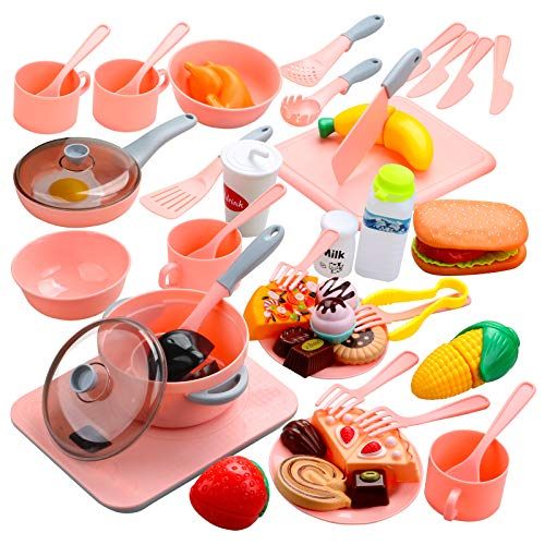 Beletops Kids Kitchen Pretend Play Toys 53PCS Cooking Set Pots and Pans Playset, Peeling and Cutting Play Food Toys Cooking Utensils Learning Gift for Toddlers, Children, Boys, Girls, Kids - Pink