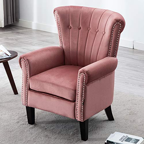Artechworks Modern Waterproof Accent Chair, Comfy Upholstered Single Sofa Arm Chair for Living Room, Bedroom, Home Office, Small Living Space, Line Stitch Tufted Armchair, Blush Color
