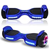 Beston Sports Newest Generation Electric Hoverboard Dual Motors Two Wheels Hoover Board Smart self Balancing Scooter with Built in Speaker LED Lights for Adults Kids Gift (-New Chrome Blue)