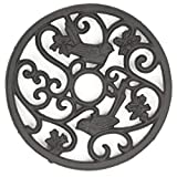 gasaré, Cast Iron Trivet, Metal Trivet, Birds Decor, for Hot Dishes, Pots, Kitchen, Countertop, Dining Table, with Rubber Feet Caps, Solid Cast Iron, 7 ½ Inch Large, Rustic Brown Finish, 1 Unit