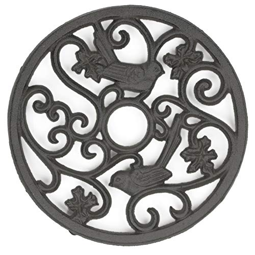 gasaré, Cast Iron Trivet, Metal Trivet, Birds Decor, for Hot Dishes, Pots, Kitchen, Countertop, Dining Table, Rubber Feet Caps, Solid Cast Iron, 7 ½ Inches, Rustic Brown Finish, 1 Unit