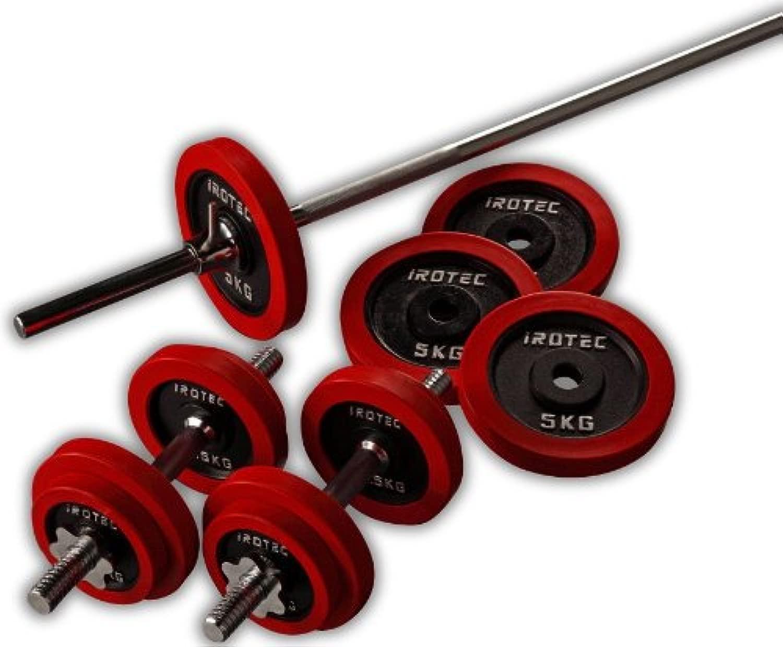 IROTEC(アイロテック)ラバー バーベル ダンベル 50KG セット/ベンチプレス スクワット 筋トレ