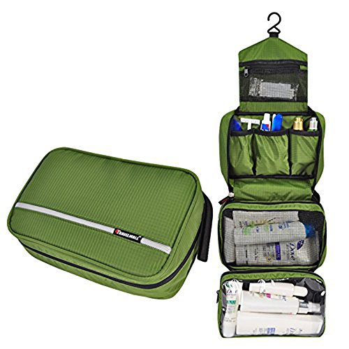 Relavel Travel Toiletry Bag Business Toiletries Bag for Men Shaving Kit Waterproof Compact Hanging Travel Cosmetic Pouch Case for Women Army Green