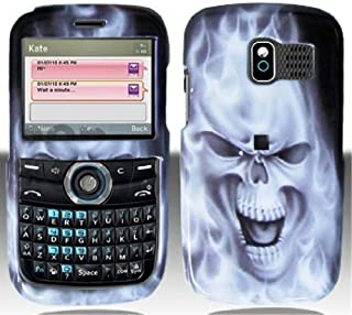 Silver Flame Skull Hard Faceplate Cover Phone Case for Pantech Link P7040 P7040P 7040