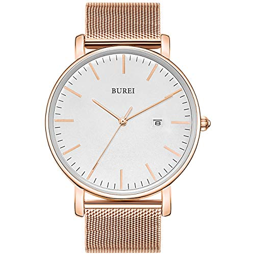 BUREI Men's Fashion Minimalist Wrist Watch Analog White Date with Rose Gold Stainless Steel Mesh Band (White Rose Gold)