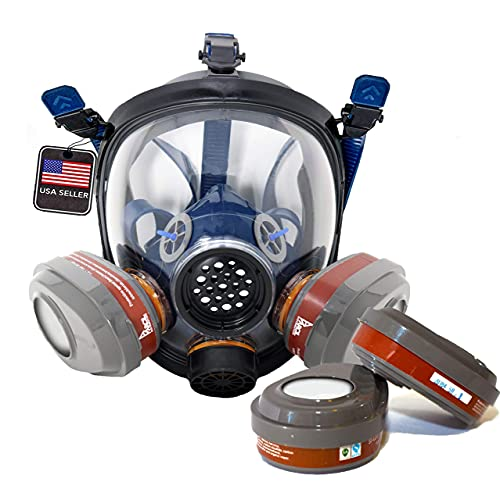 PT-101 Full Face Organic Vapor Respirator Mask with 2 Sets of P-A-3 Filters (4 Total) - ASTM Tested - Eye Protection - 1 Year Warranty