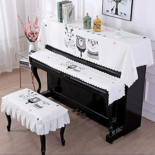 Drie stuks Piano Handdoek Eenvoudige Cartoon Printing Keyboard Kruk Cover Stofafdekking