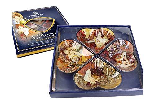CARMANI Juego de cuencos de cristal Alfons Mucha 'Amethyst, Topaz, Emerald, Ruby', incluye caja de regalo decorativa