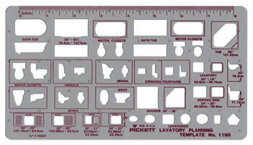 Pickett Lavatory Planning Template, 1/4 Inch Scale (1190I)