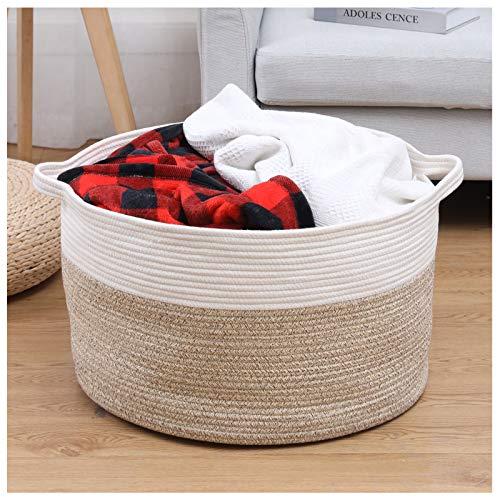 catalpa yao Cesta de cuerda de algodón XXXL grande de 55 x 35 cm, almacenamiento de juguetes con asas para mantas, ropa y guardería tejida (blanco y marrón claro)