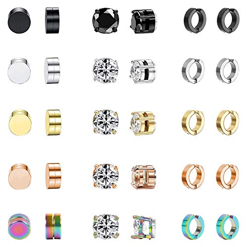 NEWITIN 15 Pairs Magnetic Stud Earrings Stainless Steel Magnet Earrings Clip on Earrings Non Piercing Cross Earrings CZ Hoop Dangle Cross Magnetic Earrings for Men and Women