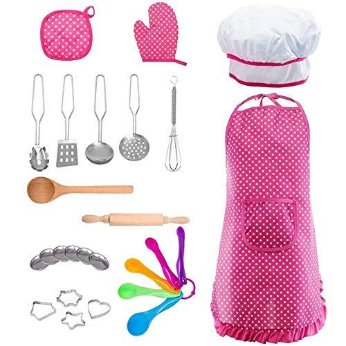Baalaa Juego de 24 piezas para cocinar y hornear para niños, incluye delantal, sombrero de chef, guante de horno, soportes para ollas, platos, rodillo y cuchara