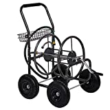 Fit Right Garden Hose Reel Cart, Hose Reel Cart with Wheels, Durable Powder Coat Finish, Storage Basket Design, Holds 300- Feet of 5/8 Inch Hose (Metal Grey)