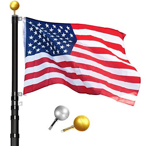 WinisKi Telescoping Flag Pole 25ft Black, Outdoor Heavy Duty Adjustable Height Aluminum Telescopic Flagpole Kit, 2 Golden, Silver Balls Topper, USA Flag, Fly 2 Flags, Residential, Commercial