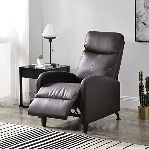[en.casa] Sillón Relax Elegante Butaca Reclinable 102x60x92 cm Asiento cómodo Cuero sintético PU Marrón