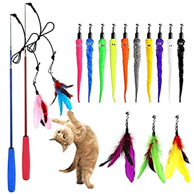 SUIYI Cat Feather Toys 17 Packs, Retractable Cat Wand Toys and Replacement Refills with Bells, Interactive Cat Toys for Cat Exercise