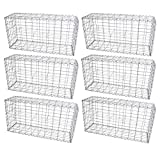 MonsterShop Gabion Baskets Garden Mesh Wire Cages Galvanised Steel Stone Basket Outdoor Spiral Planter Retaining Wall / 100 x 50 x 30cm / 6 Pack