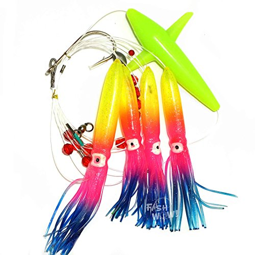 Fish WOW! Daisy Chain Rainbow Squid Bird Teaser Rigged Fishing Lure Trolling - Rainbow