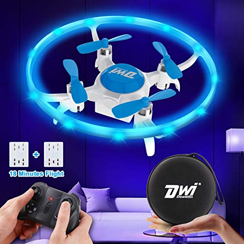 Dwi Dowellin Mini Drone for Kids with LED Lights Crash Proof One Key Take Off Landing Spin Flips RC Flying Toys Drones for Beginners Boys and Girls Adults Quadcopter with Carrying Case, Blue