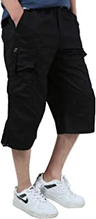 Men's Casual Cotton Cargo Shorts Loose Fit Outdoor Capri Long Shorts With Multi-Pocket