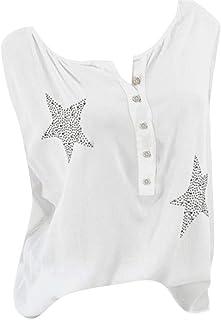 Women Blouse, OULSEN Summer Loose Casual Top Shirt Button Round Neck Sleeveless Plus Size Tank Top Star Pattern Sleeveless Tunic T Shirt