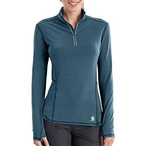Carhartt Women's Force Ferndale Quarter Zip Shirt, Blue Mist Heather, L