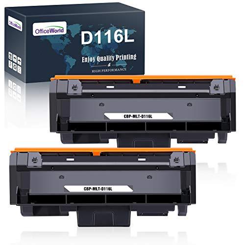 OFFICEWORLD D116 MLT-D116L Cartuccia Toner per D116L MLT-D116S (2 Nero) per Stampanti Samsung Xpress SL M2625 M2625D M2626 M2675 M2675F M2675FN M2676 M2825 M2825DW M2825ND M2826 M2875 M2875FW