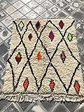 SoloBonito 0050 Azilal Tapis tissé à la main en laine vierge de qualité supérieure 110 x 132 cm