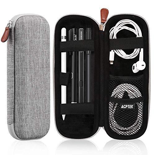 AGPTEK Estuche para Apple Pencil, Cubierta de EVA para Lápiz de iPad /Pro, Microsoft, Samsung, HAHAKEE, Wacom etc. Soporta Cable USB y Auriculares, Gris
