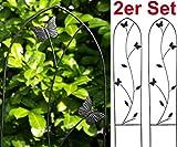GeKi Trend 2er Set Rankhilfe Rankgitter Eisen Metall schwarz 21 x 102 cm groß Schmetterlinge