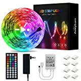 LED Light Strip 55ft AveyLum Flexible RGB Rope Lights 5050 SMD 480 LEDs Non Waterproof IP20 16M Tape Light with 44 Keys Wireless Controller and 24V Power Adapter for Home Kitchen Party TV Deco