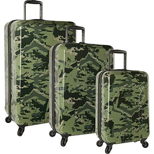 Columbia 3 Piece Hardside Spinner Luggage Suitcase Set, Woodsy Camo Black, One Size
