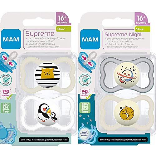 MAM Dental Schnuller Supreme, 16+ Monate, 4er Pack, haut- und zahnfreundlicher Schnuller, Skin Soft Silikon