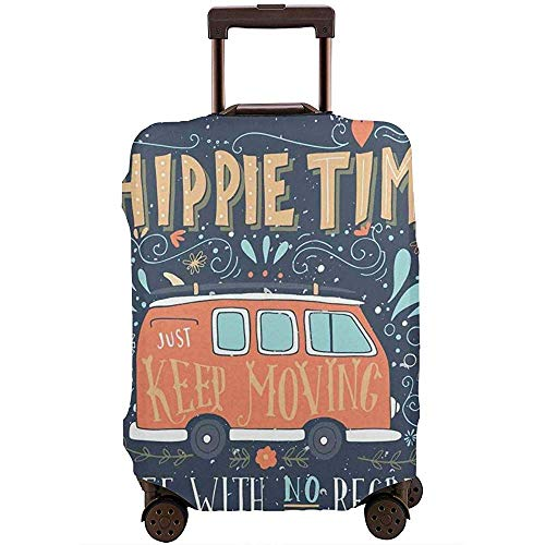 Travel Luggage Cover Hippie Motivational Inspiring Quote with Flowers Dots and Drop Like Ornaments Suitcase Protector Size L