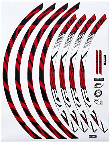 Ecoshirt 88-YF3U-R725 Pegatinas Stickers Llanta Rim DT Swiss Syncross Xr25 MTB Downhill, Rojo Blanco 29'