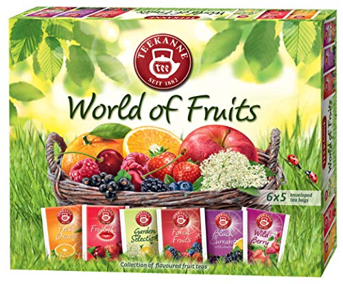 Teekanne World of Fruit Natural Tea Selection Box 6 Flavours 5 Teabags of Each