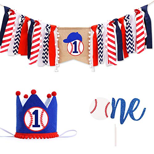 1st Birthday Decoration High Chair One Banner, Handmade Baseball First Birthday Party Supplies Burlap Highchair Banner and One Cake Topper One Hat,1st Birthday Banner For Baby Shower