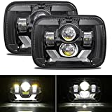 DOT Approved 5x7 Led Headlights with DRL New Osram Chips 7x6 Inch Hi/Low Led Sealed Beam Headlamp H6054 LED Headlight Compatible with Jeep Wrangler YJ XJ Replacement H5054 H6054LL 69822 6052 6053