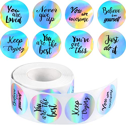 500 Pieces Laser Inspirational Words Stickers Motivational Quote Stickers Inspiring Planner Stickers Holographic Rainbow Encouraging Stickers Round Label Sticker for Book Phone Car Scrapbook, 1.5 Inch