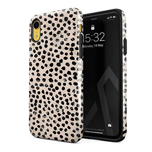 BURGA Hülle Kompatibel mit iPhone XR - Handy Huelle Schwarz Punktmuster Polka Dots Pattern Nude Almond Latte für Frauen Robustes Stoßfestes Doppellagiges Hardcase + Silikon Handyhülle Hülle Cover