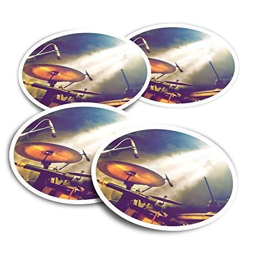 Pegatinas de vinilo (juego de 2) 10 cm – Kit de batería banda musical concierto calcomanías divertidas para ordenadores portátiles, tabletas, equipaje, reserva de chatarra, frigoríficos #16491