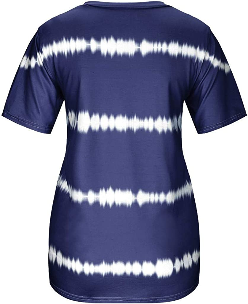 Yxiudeyyr Womens Casual Crew Neck Tie-Dye Stripe Print T Shirt Summer Basic Oversized Beach Short Sleeve Beach Pullover Tops