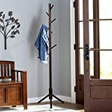 Vlush Sturdy Wooden Coat Rack Stand, Entryway Hall Tree Coat Tree with Solid Base for...