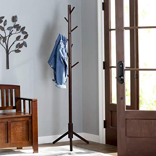 Vlush Perchero de pie estable de madera con entrada en forma de árbol, perchero con base sólida para ropa, monedero, bufandas, sombreros, paraguas, 8 ganchos (marrón)